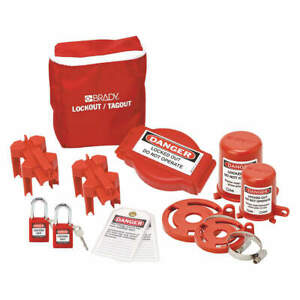 Brady Portable Lockout Kit 10 filled valve 99680 Red