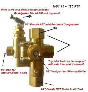 Gas Air Compressor Unloader Valve Pilot Check Valve Combination 95 125 Ng1