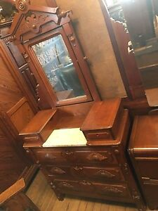 Eastlake Victorian Walnut Drop Center Marble Top Dresser Carved Pulls W Mirror