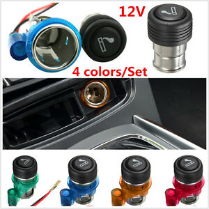 Car Auto Motorcycle 12v 4 Colors Set Cigarette Lighter Power Socket Plug Outlet