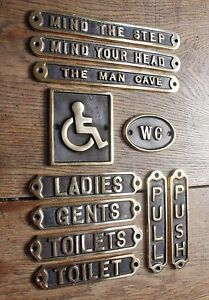 Brass Door Signs Antique Vintage Toilet Ladies Gents Wc Disabled Push Pull