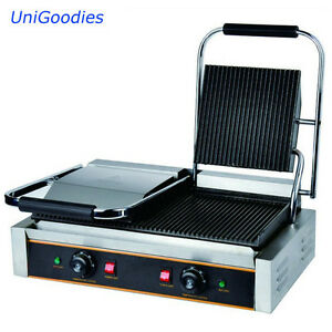 Griddle Grill Machine Warmer Toaster Sandwich Panini Press Two Head Electric