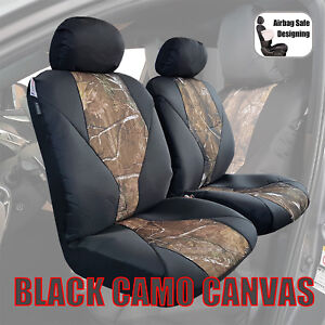 Black Camo Sports Waterproof Canvas Universal Front Airbag Auto Seat Covers