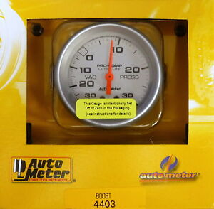 Auto Meter 4403 Ultra Lite Vacuum Boost Mechanical Gauge 2 5 8 30 In Hg 30 Psi