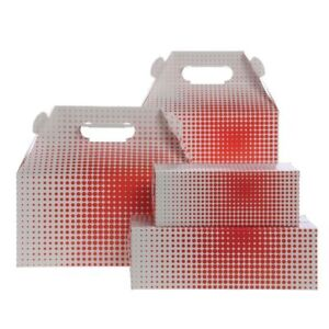 Paper Food Containers 12 Lb Barn Box Red Dots 9 1 2 l X 5 w X 8 h 83824