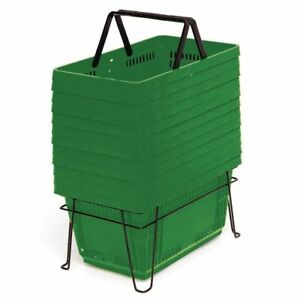 28 Liter Grocery Shopping Baskets Hunter Green Set Of 12 81409
