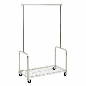 Steel Rolling Clothing Rack With Shelf 17173