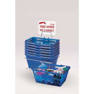 Blue Plastic Shopping Baskets Set Of 6 23805