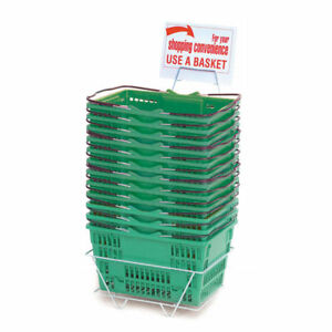 Green Plastic Shopping Baskets Set Of 12 52047