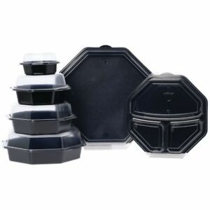 Hinged Octaview Take Out Box Black 3 compartment 9 dia X 2 1 8 d 90043
