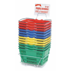 Assorted Grocery Shopping Baskets Plastic Set Of 12 99726