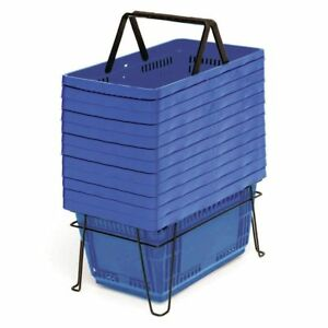 28 Liter Grocery Shopping Baskets Blue Set Of 12 76100