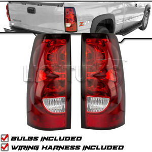 Left Right Pair Tail Lights For 2004 2007 Chevy Silverado W Wiring Harness bulbs