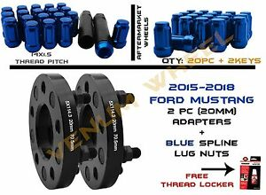 2pc Ford Mustang 5x114 3 Black Adapters 20pc Blue Spline Lug Nuts 14x1 5