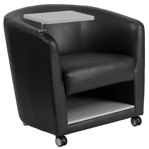 Contemporary Black Leathersoft Guest Chair W tablet Arm wheel Casters
