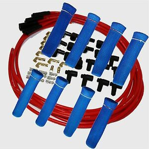 8 5 Mm Red Spark Plug Wires Hi temp Suppression Str Ends Hei W Blue Protec