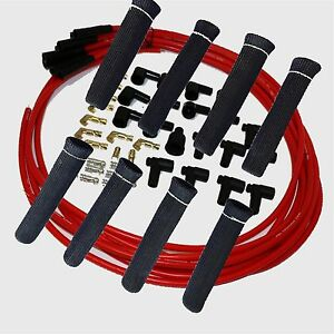 8 5 Mm Red Spark Plug Wires Hi temp Suppression Str Ends Hei W Black Protectors