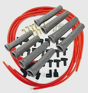 8 5 Mm Red Spark Plug Wires Hi temp Suppression 90 Ends Hei W Gray Protectors