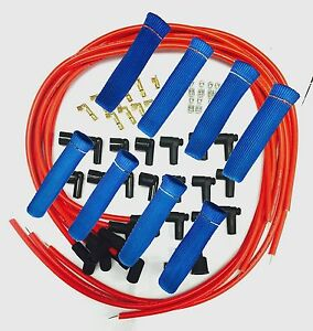 8 5 Mm Red Spark Plug Wires Hi temp Suppression 90 Ends Hei W Blue Protectors