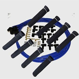 8 5 Mm Blue Spark Plug Wires Hi Temp Suppression 90 Ends Hei W Blk Protectors