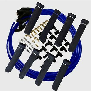 8 5 Mm Blue Spark Plug Wires Hi temp Suppression 135 Ends Hei W Blk Protectors