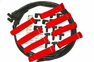 8 5 Mm Blk Spark Plug Wires Hi Temp Suppression 90 Ends Hei W Red Protectors