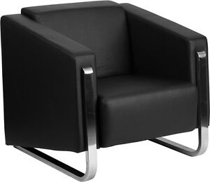 Contemporary Leathersoft Office Lounge Guest Chair With Stainless Steel Frame
