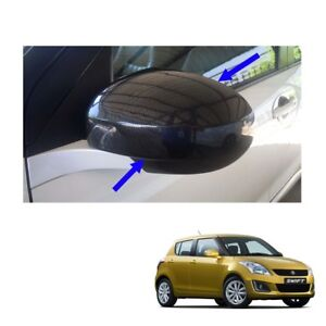Fit Suzuki Swift 12 14 15 16 Wing Side Mirror Cover No Signal Lamp Carbon 2 Pc