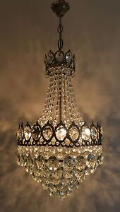 Large Size French Basket Style Vintage Brass Crystals Chandelier Antique Lamp
