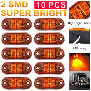 10x Amber Led 2 5 2 Diode Light Oval Clearance Trailer Truck Side Marker Lamp