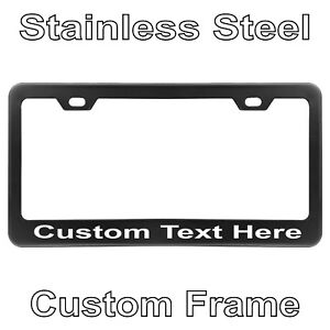 Custom Printed Black Stainless Steel License Plate Frame With Your Text C