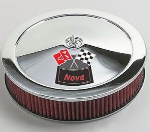 Chrome Air Cleaner Red Washable 14x3 Chevrolet Chevy Fits 4bbl New Nova Red 68