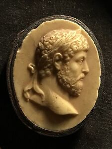 Mounted 19th C Grand Tour Cameo Georgian Classical Wax Intaglio Portrait