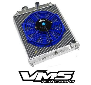 Vms Racing Aluminum Dual Core Radiator Bl Slim Fan For 96 98 Honda Civic