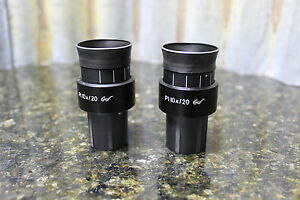 Pair Of Zeiss Axiovert Eyepieces Pl10x 20 Goggles Glasses 30mm 44 40 32 Free S