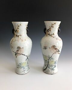 A Pair Of Late Qing Dynasty Early Republic Chinese Porcelain Famille Rose Vases