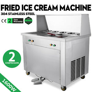 1600w Fried Ice Cream Machine 2 Pans 5 Buckets Stainless Steel W 2 Compressors