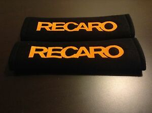 Recaro Seat Belt Pads Pair Black Co Competition Orange Mustang