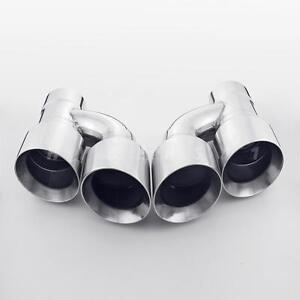Pair Offset Quad Dual Wall 4 Out 3 In Exhaust Tips Angle Cut Stainless Steel
