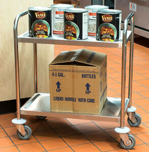 Commercial 16 X 28 Stainless Steel 2 Two Shelf Utility Kitchen Bus Cart New