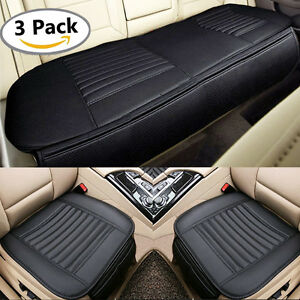 Universal Car Front Rear Seat Cushions Covers Leather Mats Breathable Pads Black