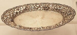 Jacobi Co Sterling Oval Repousse Bread Dish Serving Dish