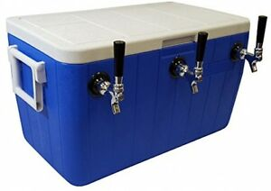 Draft Beer Keg Cooler 3 faucet Tap Handle Dispenser System Ice Chest Party 48 Qt