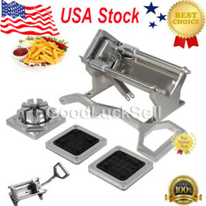 Potato French Fry Fruit Vegetable Commercial Cutter Slicer Cutting W 4 Blades Us