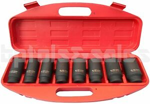 8pc 1 2 Dr Front Back Wheel Drive 12 Point Deep Spindle Axle Nut Socket Set
