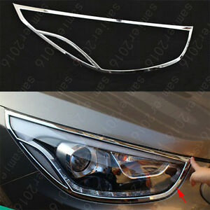 2x Chrome Abs Front Headlight Frame Cover Fit For Hyundai Tucson Ix35 2013 15