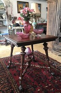 Antique Merklen Brothers Mahogany Parlor Table With Lion Claw And Ball Feet 1885