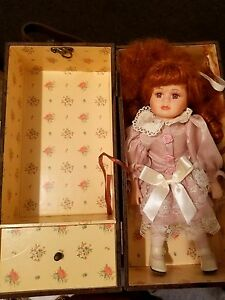 Antique Porcelain Doll With Trunk And Extra Dress