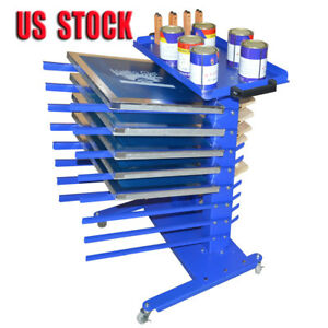 8 Layers Screen Printing Materials Rack Place Tools Aluminum Frame Mobile Table
