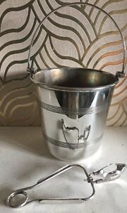 Stylish Chester Ep Co Silverplated Ice Bucket Tongs
